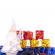 Santa with presents and xmas balls — Stock Photo #2834616