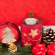 Xmas candles on red background — Foto Stock