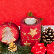 Xmas candles on red background — Stock fotografie