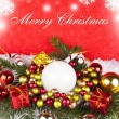 Stock Photo: Merry chritmas text with decoration