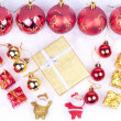Stock Photo: Xmas ornaments on snow