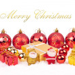 Red and golden xmas ornaments - Stock Photo