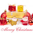 Red and gold xmas ornaments — Stock Photo