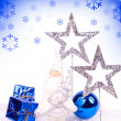 Blue xmas card - Stock Photo