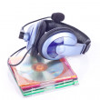 Headphone and discs - Stock Photo