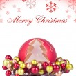 Red christmas background with snowflakes — 图库照片