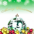 Stock Photo: Green christmas background - card