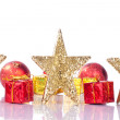 Xmas golden stars - Stock Photo