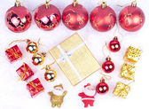 Xmas ornaments on snow — Stock Photo