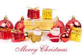 Červené a zlaté vánoční ozdoby — Stock fotografie