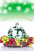 Green christmas background - card — Stock Photo