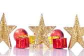 Xmas golden stars — Stock Photo