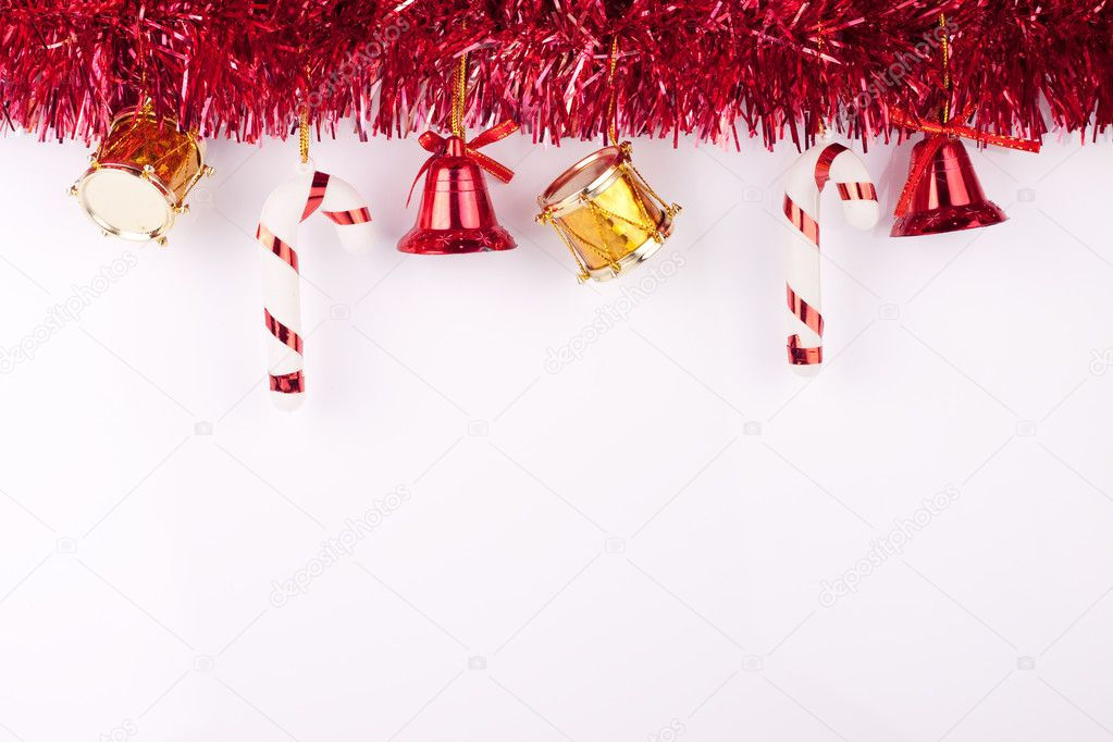 Christmas bells, drums , balls on white background — Zdjęcie stockowe #2831031