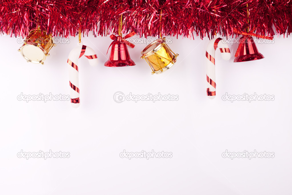 Christmas bells, drums , balls on white background — Lizenzfreies Foto #2831031