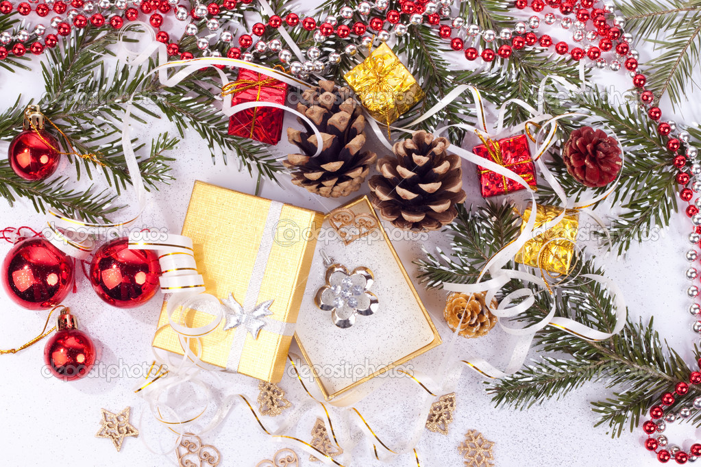 Xmas background and opened gift on white  — Stock Photo #2837601
