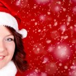 Smiling girl in santa cloth — Stock Photo