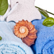 Foot stone on towels - Stock Photo