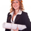 Businesswoman with helmet — Stock Photo