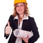 Successfull architect woman — Stock Photo