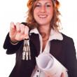 Businesswoman and keys — Stock Photo #2872417