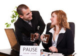 Business enjoying coffee-break — Stock Photo