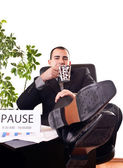Businessman on pause — Stock Photo