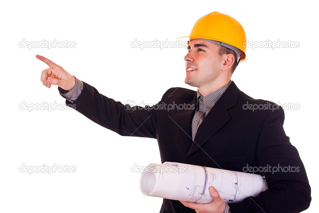 Smiling businessman with helmet showing up — Stock Photo #2872184