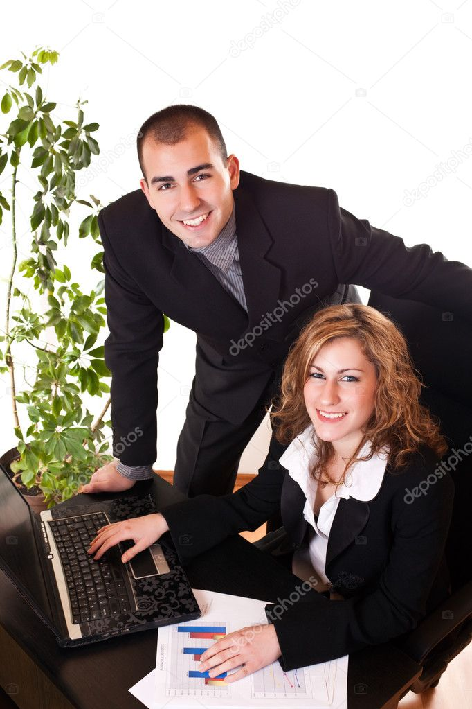 Young business colleagues are happy with their work — Stock Photo #2872558