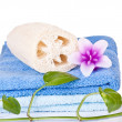 Loofah, candle and towel — Stock Photo #2900995