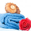 Folded blue towel — Stock Photo
