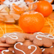 Cookies with fruits in background — Stock Photo
