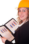 Smiling architect woman and documents — Stock Photo