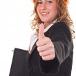 Businesswoman holding thumb up — Stock Photo