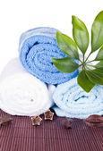 Vita och blå handdukar — Stockfoto