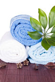 White and blue towels — Stock Photo