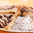 Decorated plate of pancakes — Stock Photo