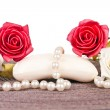 Soap with white and red roses — Stock Photo