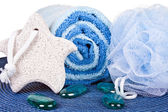 Foot stone, towel and sponge — Stock Photo
