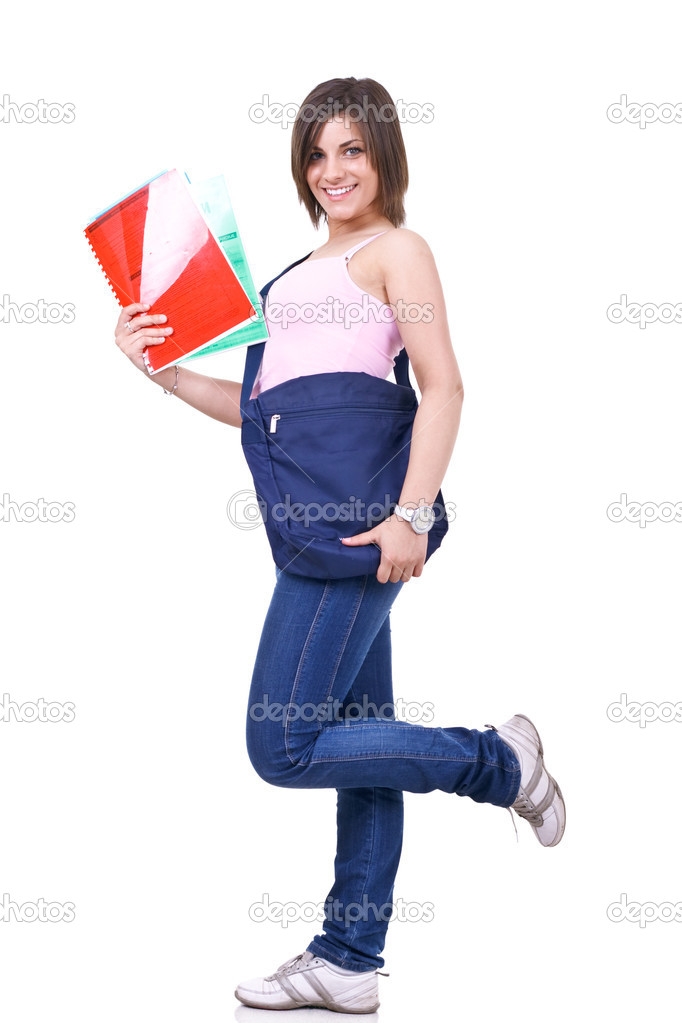 Young female student posing with books and bag — Stock Photo #3195968