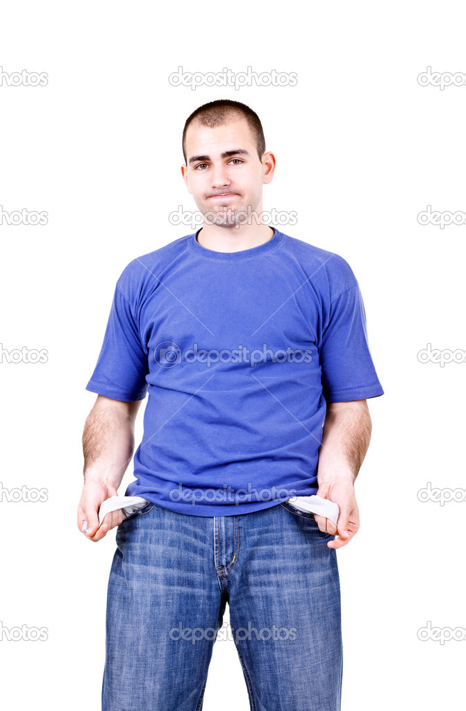 Portrait of a young male student with empty pockets — Stock Photo #3195975