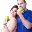 Couple eating healthy apples — Stock Photo