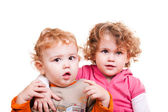 Baby boy and little girl — Stock Photo