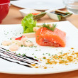 Salmon with soy sauce — Stock Photo