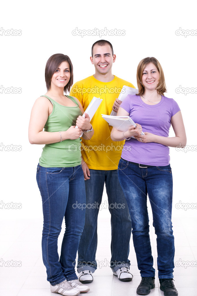Group of young happy students standing with books  Stock Photo #3299184