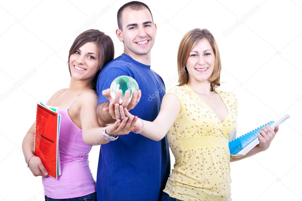 Three young smiling students with books holding globe — Stockfoto #3299425