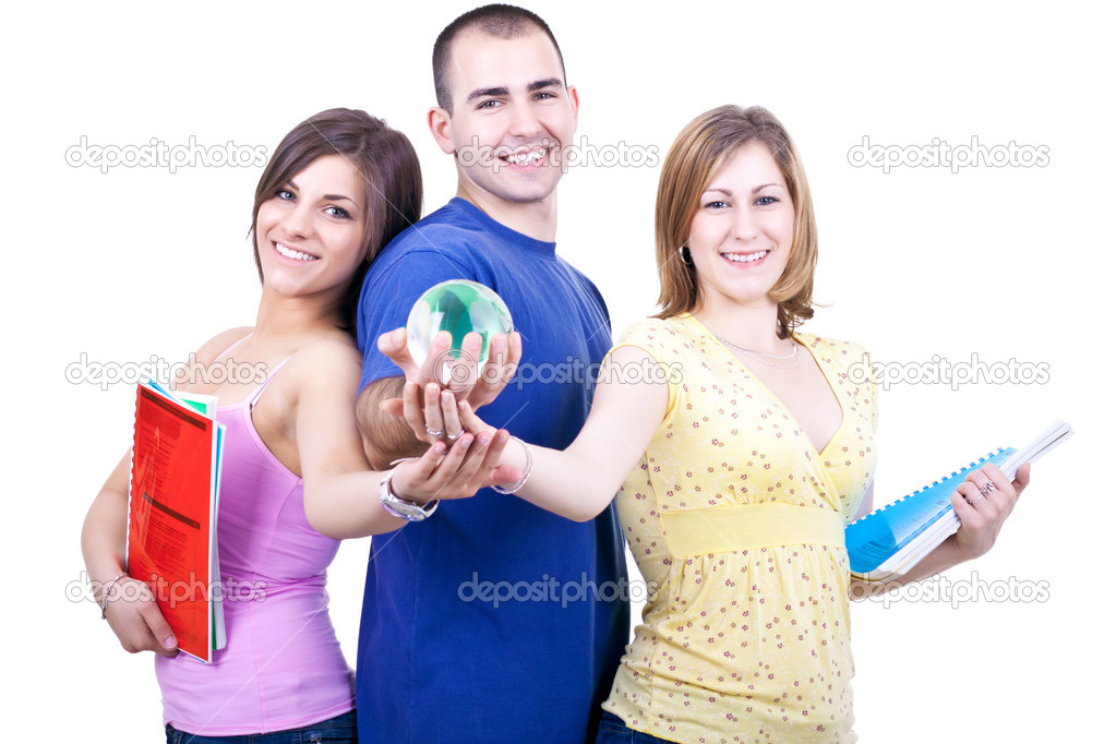 Three young smiling students with books holding globe — Photo #3299425
