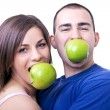 Eating apples — Stockfoto