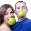 Eating apples - Stockfoto