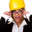 Young sexy woman with helmet and glasses — Stock Photo