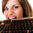 Businesswoman get angry on her keyboard — Stock Photo #3383541